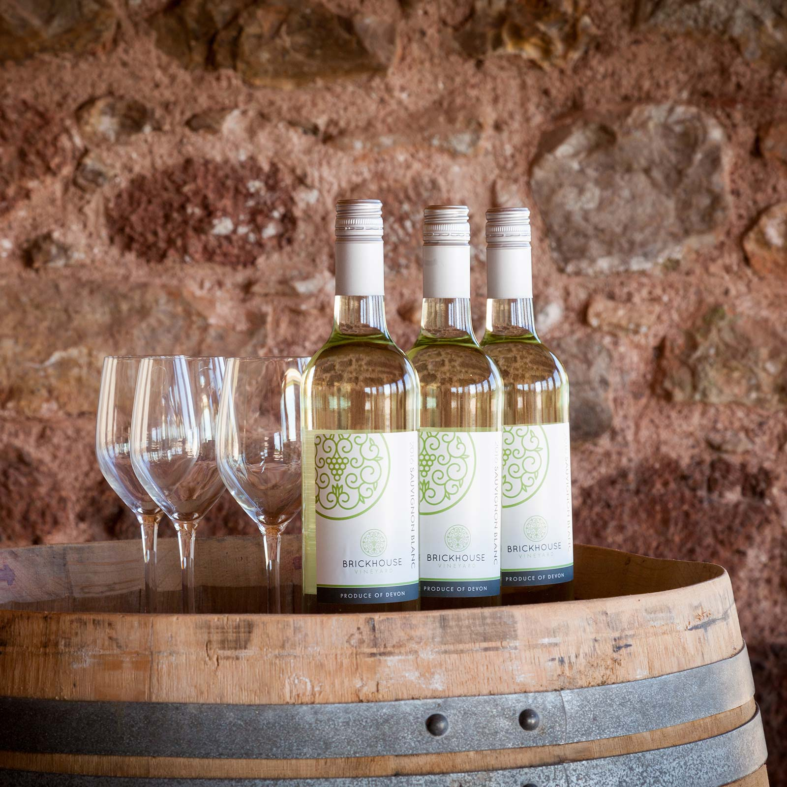 Bottles of Sauvignon Blanc English white wine from Brickhouse Vineyard.