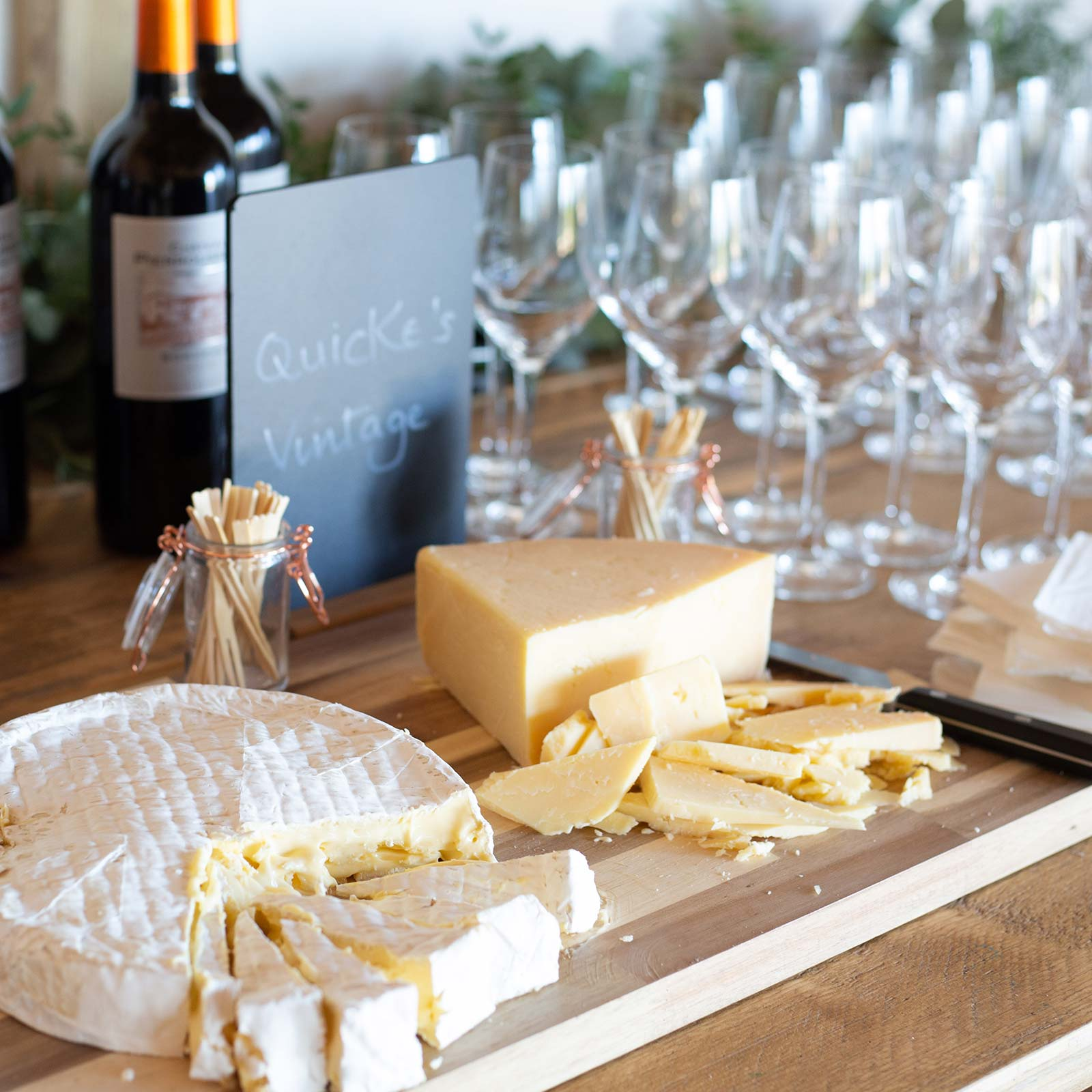 Wine and cheese pairing experience at Brickhouse Vineyard in Devon, England.