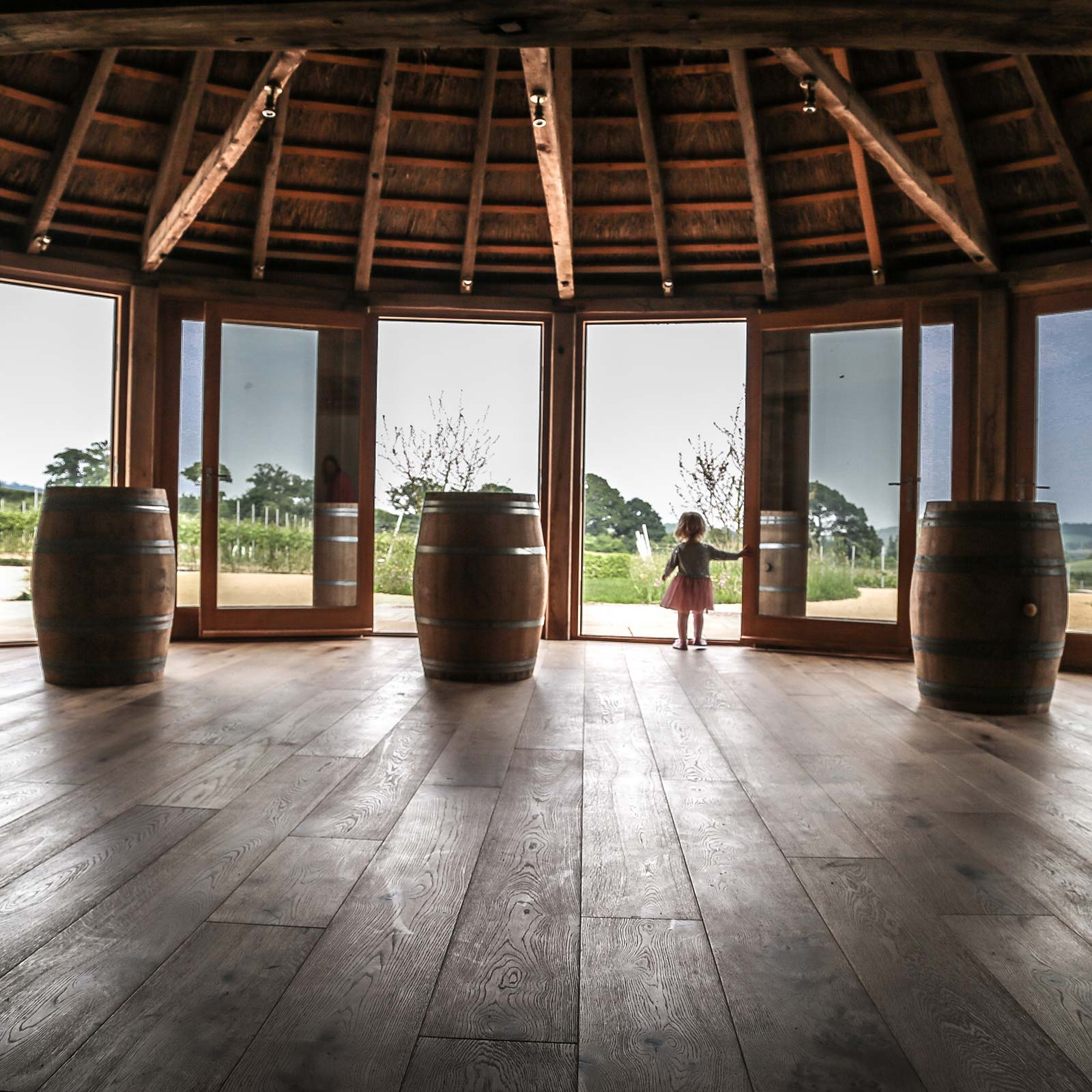 Inside the round house, a small wedding and events venue at Brickhouse Vineyard.