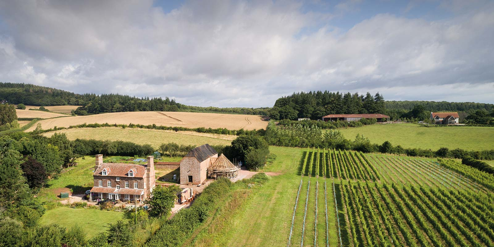 Aerial view of Brickhouse Vineyard taken when the renovation work was underway