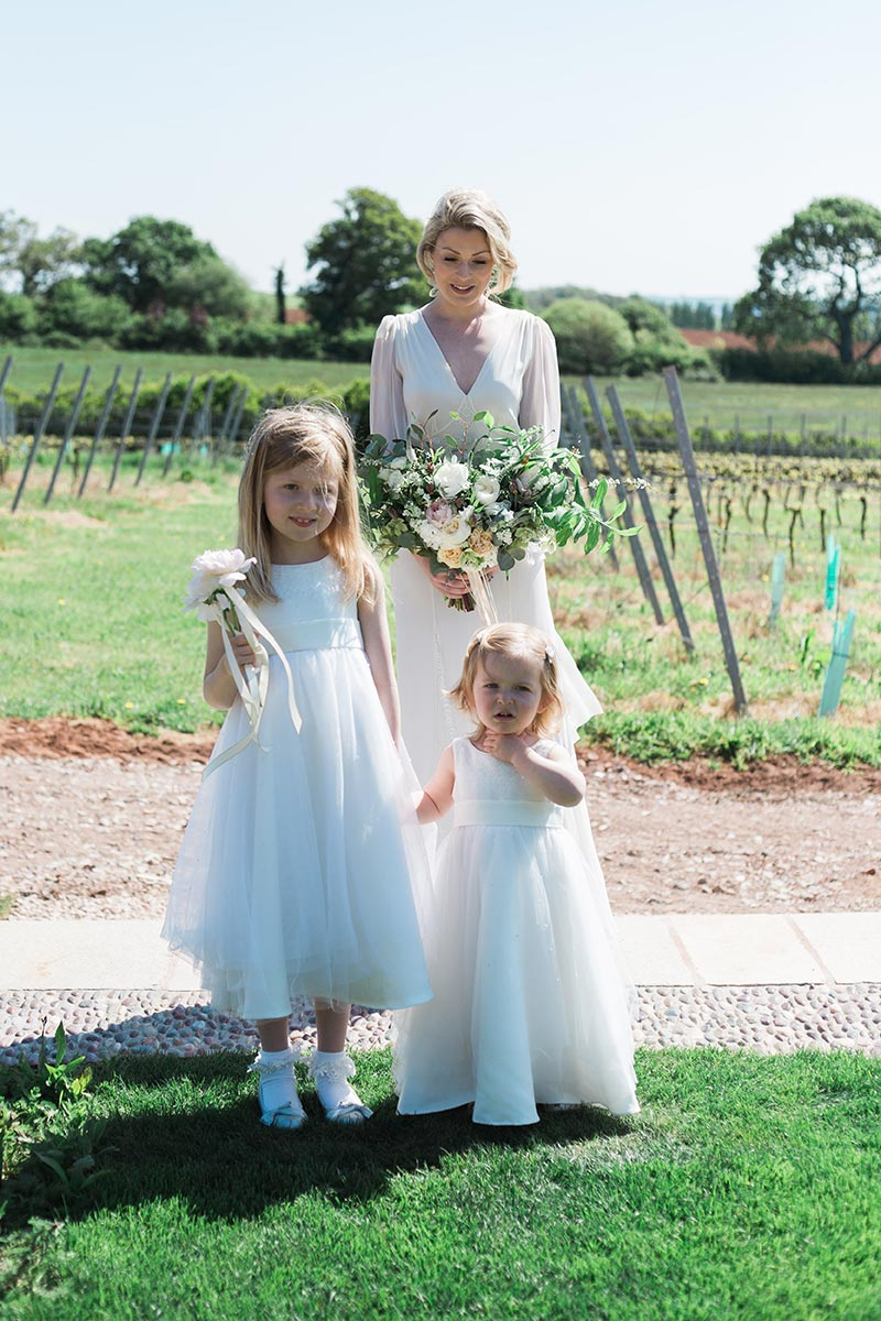 Bridesmaids on the bridal walk at Brickhouse Vineyard