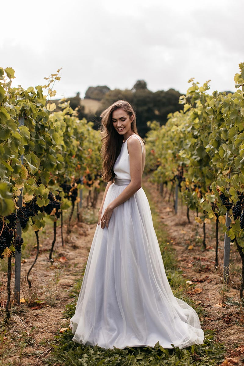 Civil ceremony venues - photo of bride in the vineyard