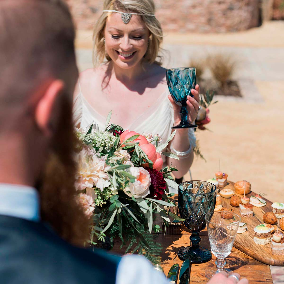 Elopement wedding package - al fresco dining on the terrace at Brickhouse Vineyard