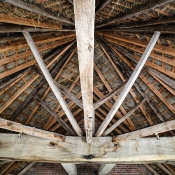View of the round house roof structure at Brickhouse Vineyard