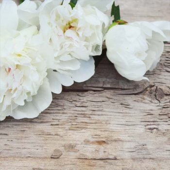 White wedding venue flowers on a rustic wooden table