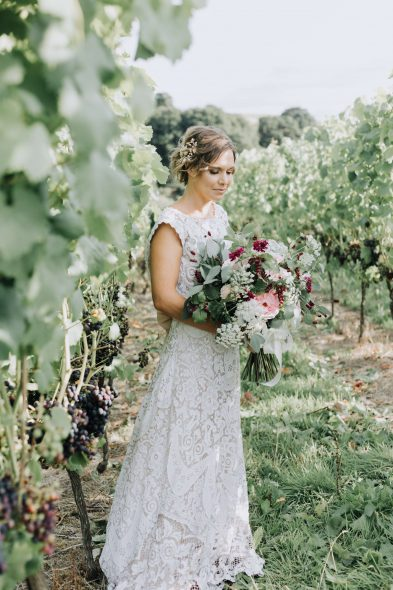 Bride with Bouquet in Vineyard