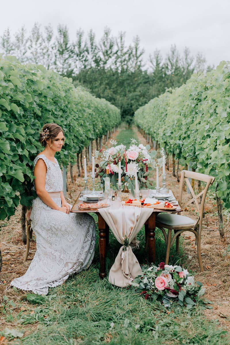 Bride and Intimate Wedding Breakfast in Vineyard