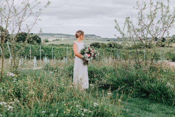 Bride in Rural Vineyard