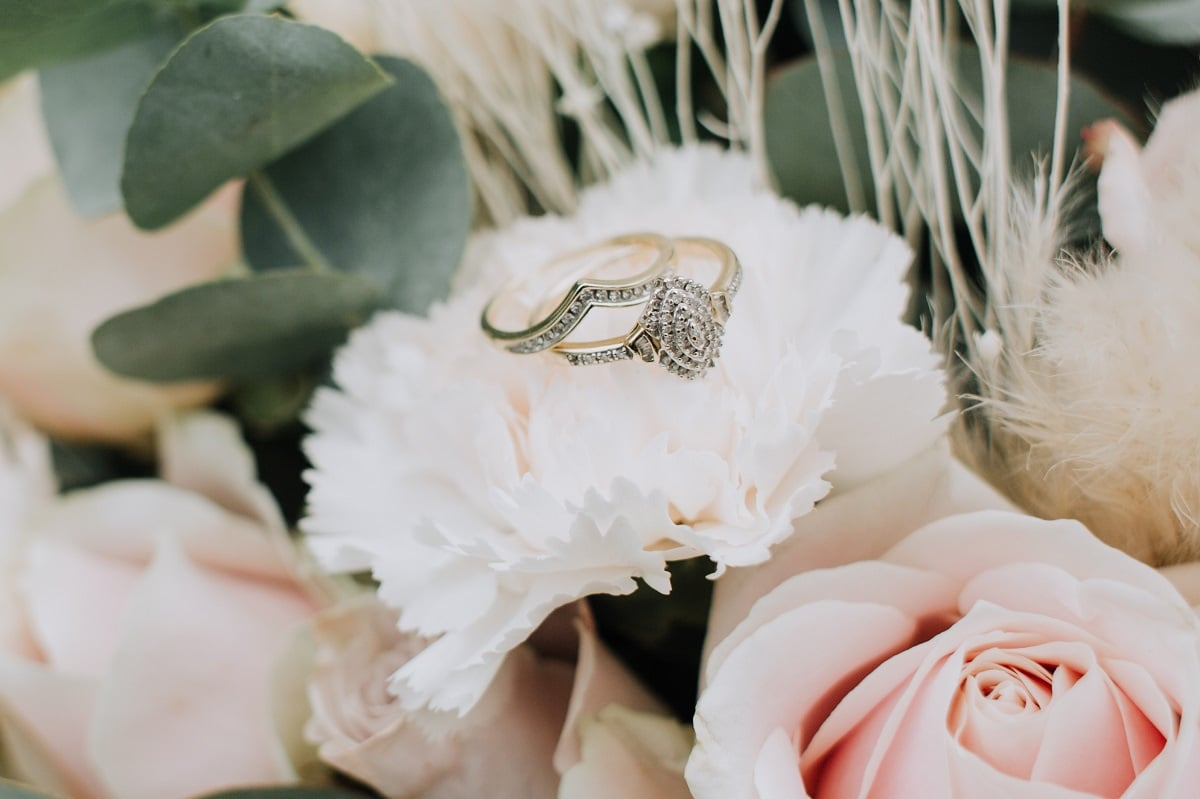 Wedding rings on flower bouquet