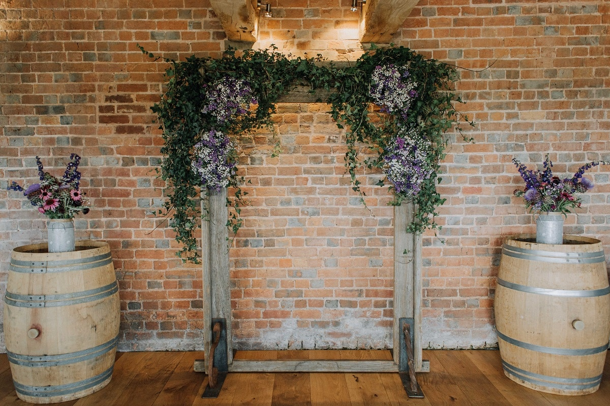 Wedding arch inside the roundhouse at Brickhouse Vineyard