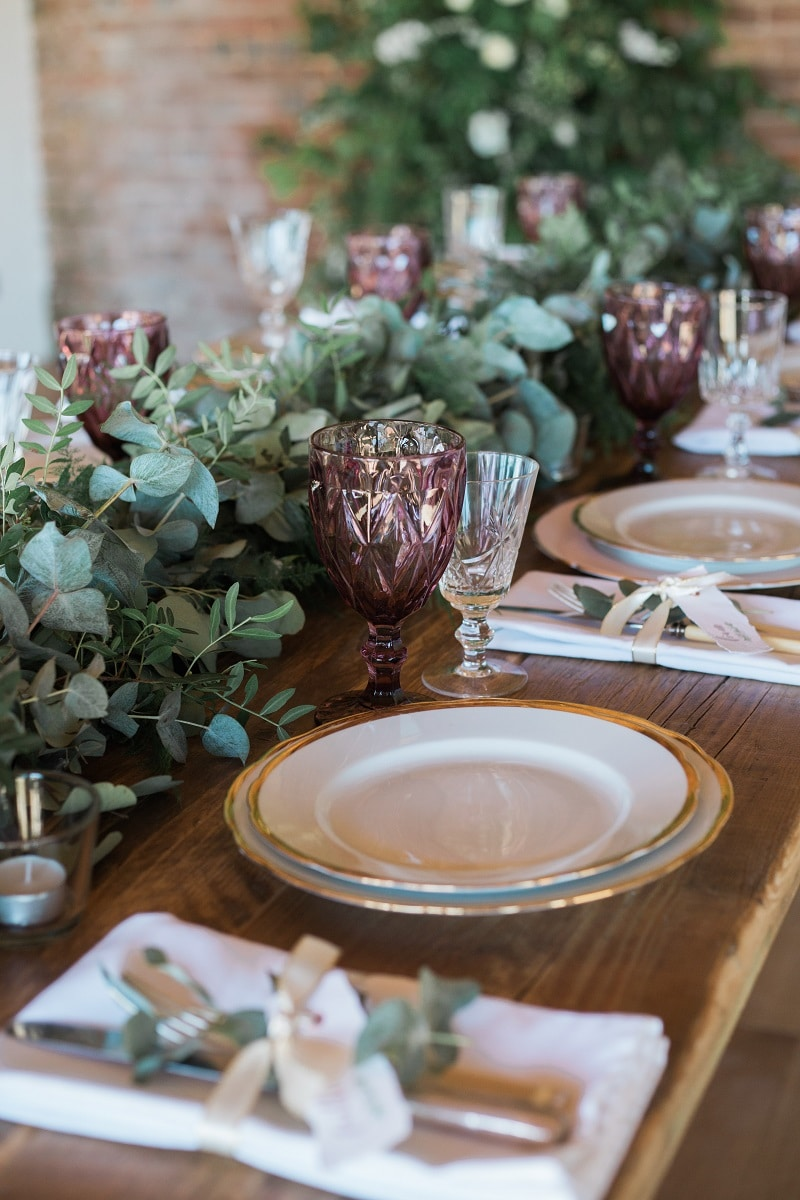 Country wedding table setting ideas in the round house