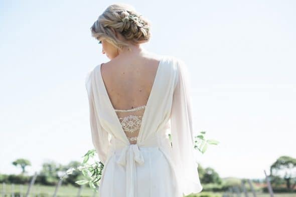 Back of brides dress showing lace detail