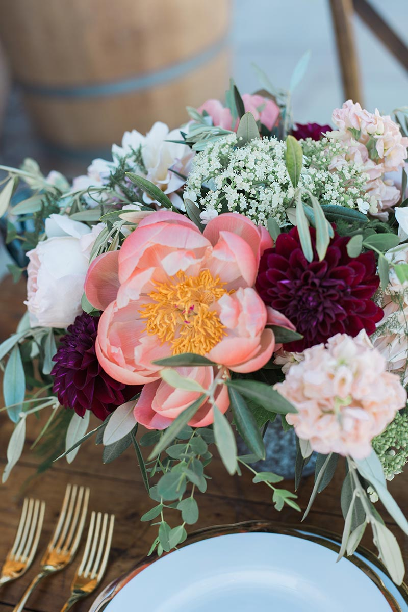Floral table decorations in the intimate wedding venue in Devon