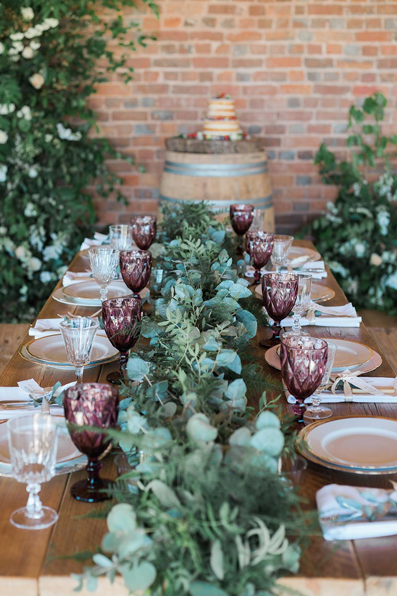 Intimate wedding venue in Devon – close up of a wedding table set up for dining