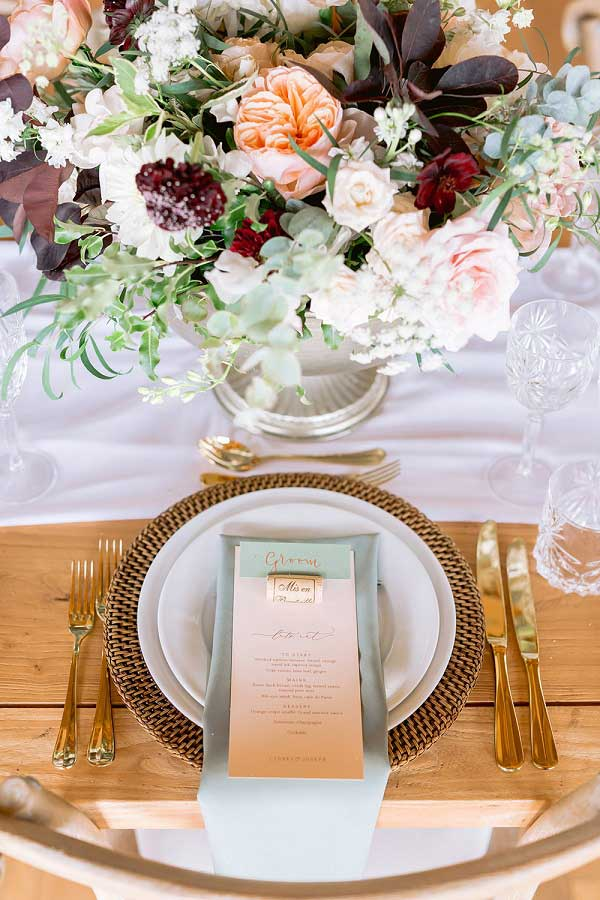 Table setting at micro wedding