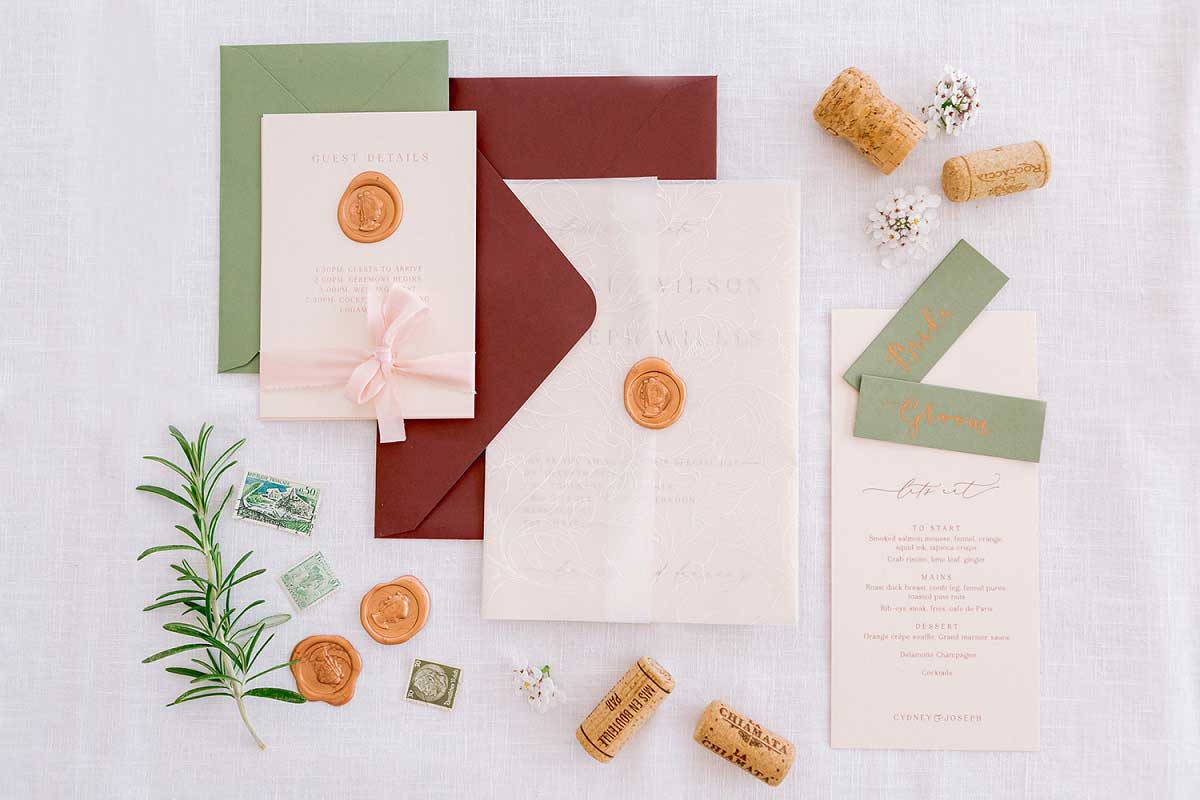 Wedding stationery set laid out