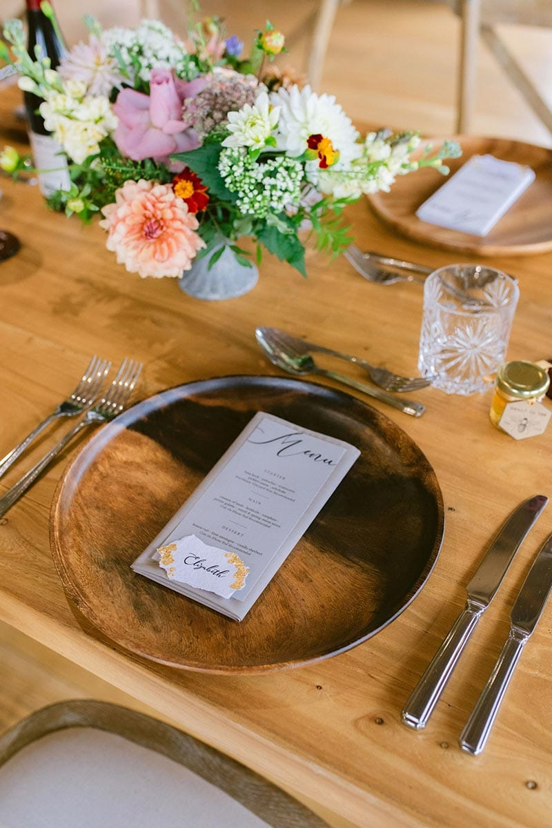 Place setting for a micro wedding